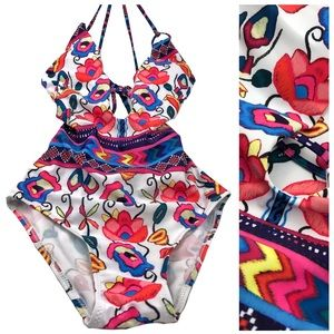 Cute Boho Floral Back Out One Piece Swimsuit